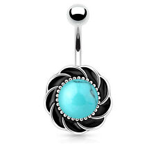 Flower with Center Turquoise Stone Surgical Steel Navel Belly Button Ring 14g