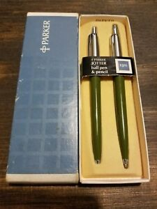 Parker Jotter Set Olive Ballpoint Pen & 0.9 Pencil  New In Box Usa  7-780-35