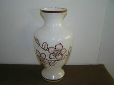 Vintage White Opaline Vase Gild With Pink Flowers.