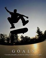 Skateboarding Motivational Poster Print Kid Wall Art Decor Skateboard Gift Goals
