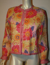 PROVENCE Pink Orange Floral Plaid Reversible Jacket NWT L