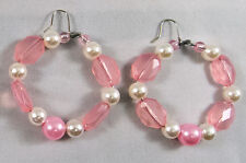 "Handmade Beautiful Stylish Earrings - Pink and Pearl Beads hoop 2"" Hook Alloy"