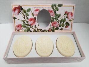 Italian Handmade Florentine Soaps, ROSE 3 Bars 4.40 Oz. each