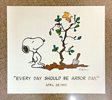 Vintage Original Arbor Day 1995 Peanuts Snoopy Woodstock Poster Charles Schulz