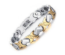 Womens Titanium Stainless Steel Germanium Magnetic Therapy Bracelet Bangle Heart