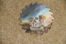 "~ Vintage Hand Painted Saw Blade Farmer + Pig Feeding 7"" ~"