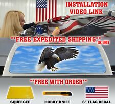 BALD EAGLE ATTACK PICK-UP TRUCK REAR WINDOW TINT GRAPHIC DECAL PERFORATED TINT