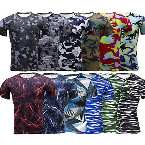 Mens Compression Athletic Layer Tops Tight Short Sleeve Sports Workout T-Shirt
