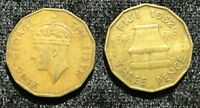 FIJI 3 PENCE 1952 KING GEORGE VI COIN