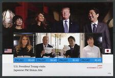 Palau 2017 MNH Donald Trump Visits Japan Shinzo Abe 4v M/S US Presidents Stamps