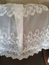 FLEUR WHITE VOILE WITH EMBROIDERED INSET AND BASE MADE TO MEASURE NET CURTAINS