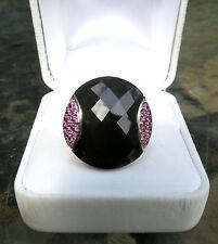 14K White Gold Round Black Agate & Pink Tourmaline Ring