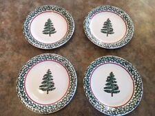 Set of 4 Furio Italy Green Sponge Christmas Tree 10-1/2 inch Dinner Plates