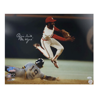 Ozzie Smith Autographed 16 x 20 Photo JSA COA w/ Wizard Inscription Pose 1