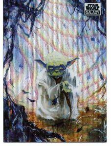 Star Wars Galaxy Chrome (2021) WAVE REFRACTOR Card #44 YODA ON DAGOBAH 60/99