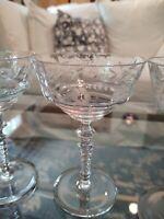 5 Vtg. Elegant Cut Etched Crystal Champagne Sherbet Wine Glasses Goblets Floral