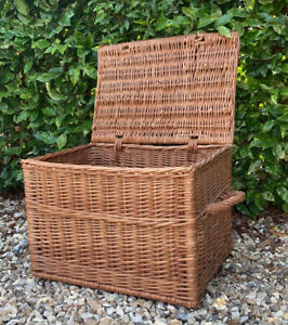 Vintage Genuine Huge Wicker Twin Handle Hamper Basket Blacker Toy Box - Stunning