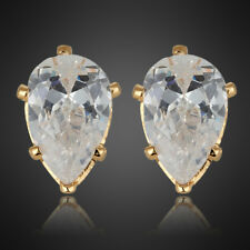 Fashion Lady 1 Stud Earrings Fine Clear Topaz Yellow Gold Plated Earings