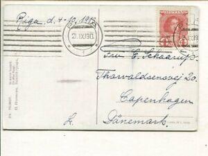 Latvia Romanov 4kop on picture post card to Denmark 1913