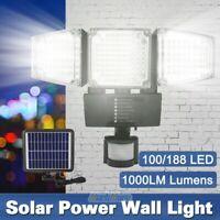 3-Head 100/188 LED Solar Security Motion Flood Light 1600LM Sensor Lamp Outdoor