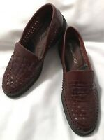 "DEER STAGS Mens ""Carlos"" Brown Woven Leather Loafers-Size 11W-EUC"