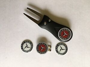 Mercedes Benz Flick Pitchfork and Golf Hat Clip and 4 25mm Markers - FREE UK P&P