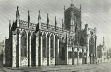 Rare View of Bristol Cathedral Church by John Coney c1840 large etched print