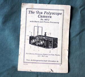 Original rare ICA Polyscop / Polyscope 45x107 stereo camera instruction manual
