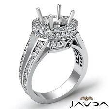 Semi Mount 2Ct Pave Diamond Engagement 14k White Gold Round Shape Vintage Ring