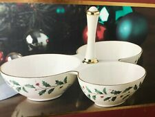 Lenox Holiday  Hollies 3 Section Condiment Server NEW IN BOX