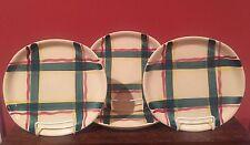 Set of 4 Vintage Purinton Heather Plaid Hand Painted Dinner Plates