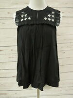 3.1 Phillip Lim Top Blouse Black Size 4 Embroidered Yoke Pleated Trapeze Tank