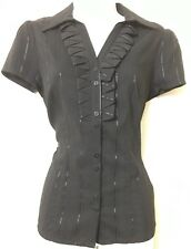 BNWT BEAUTIFUL FITTED STRIPED & FRILLED BLOUSE SIZE 10 GOVERNESS STEAMPUNK