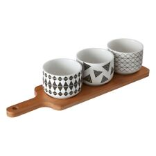 Soiree Serving Board With Grayscale Dishes Tapas Snack Dipping Bowl Platter New