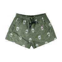 Costume da Bagno Uomo Verde Militare Teschio Pantaloncini Mare Boxer Corto