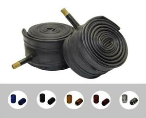 """PAIR 20"""" x 2.00 SCHRADER Valve Bicycle Inner Tubes + COLOURED ALLOY DUST CAPS"""