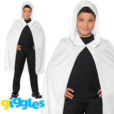 White Cape Hooded Boys Girls Unisex Ghost Robe Halloween Fancy Dress Outfit