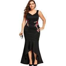 Ladies Plus Size Floral Mermaid Dress Floor-Length V Neck Sleeveless Party Dress