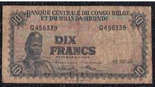 10 FRANCS FROM BELGIUM CONGO AND RWANDA URUNDI 1.6.55