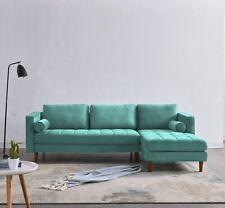 IDS Home Right Hand Facing Chaise Scott Style Corner Sofa in Blue/Green Velvet.