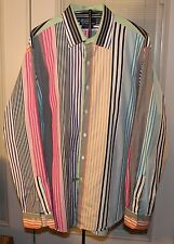 POLO BY RALPH LAUREN  CURHAM CUSTOM FIT 17 1/2/XL MULTI COLOR STRIPED