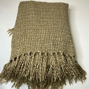 knit throw blanket tassels tan woven 50x60 acrylic blend
