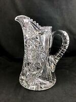 "🟩  Antique Pitkin & Brooks ABP Cut Glass No. 174 Pattern 9"" Jug Pitcher c. 1908"