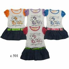 Kitty Short Sleeve Summer Dress Party Outfit Girls Kids Printed  2 to 8 years