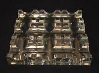 RARE Heavy Baccarat Crystal Square Ashtray Roberto Sambonet Signed Sculpture