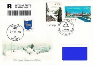 Latvia 2014 (21) Christmas - Paintings - Winter view - Riga (addressed FDC)