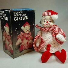Vintage Porcelain Christmas Clown Santa Holiday Doll - Head Turns & Plays Music