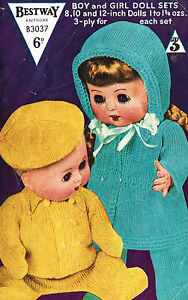 """Dolls clothes knitting pattern for  8"""" 10"""" & 12 inch Baby doll. (V Doll 48)"""