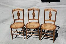 Nice Set of 3 Solid Walnut Victorian Cane Bottom Chairs ~Ca.1880
