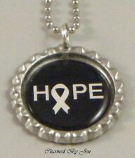 "New ""HOPE"" LUNG CANCER Awareness WHITE RIBBON Bottle Cap Chain Necklace 24"""